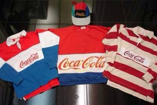 shirt coca cola advertising drink red soda 90s style 80s style