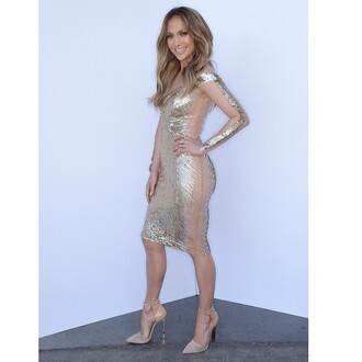 dress gold foil jennifer lopez sheer nude foil print dress bodycon bodycon dress american idol american idol style mesh metallic sexy