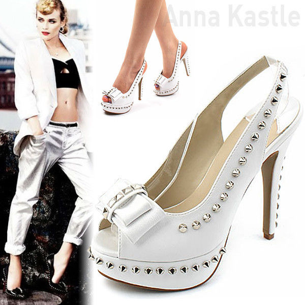 AnnaKastle New Womens Studded Bow Slingback Heel Sandal US 5 White - 13.5 CM | eBay