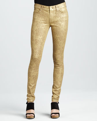 7 For All Mankind Skinny Gold Metallic Floral-Print Jeans - Neiman Marcus