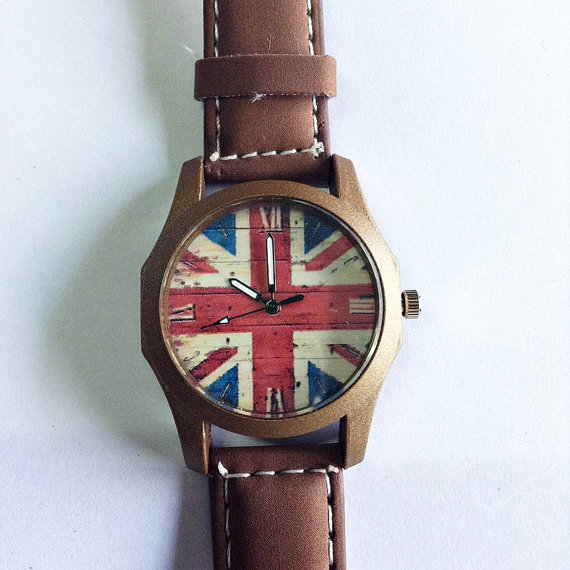 British Flag Watch Vintage Style Leather Watch Retro by FreeForme