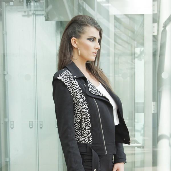 jacket studs style stylists fashionista model biker jacket biker zips buckles blogger celebrity style sex and the city yan neo london london style