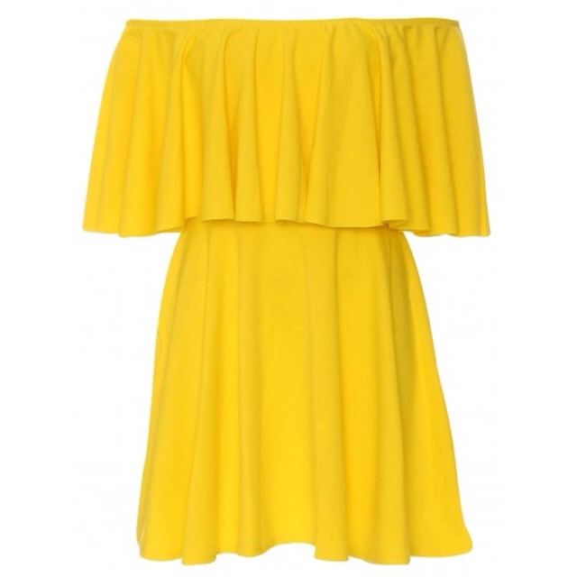 OFF THE SHOULDER RUFFLED SHORT YELLOW ... | Chic Empire | Depop