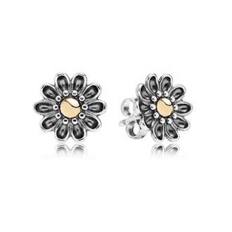 jewels daisy jewelry flowers studs ear studs earrings tiffany pandora two tone silver sterling silver gold 14k gold