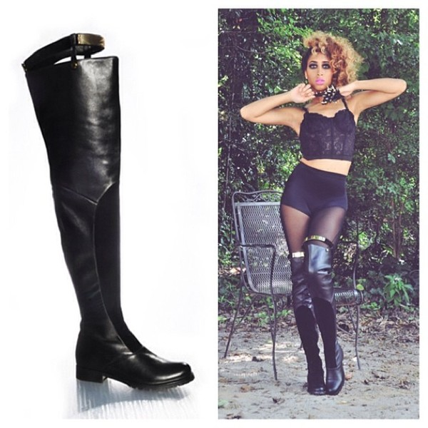 shoes black tall boots
