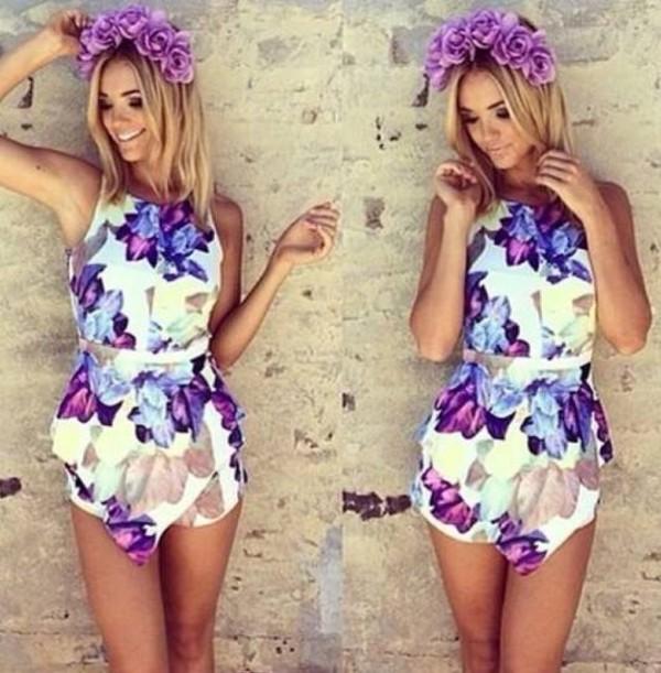 jumper jumpsuit dress purple dress purple flower crown summer outfits flowers romper summer dress flowers blonde hair hat