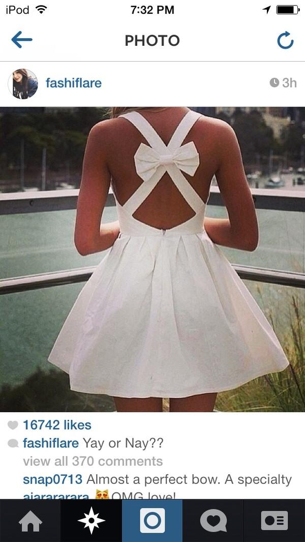 dress white dress Bow Back Dress flowy dress