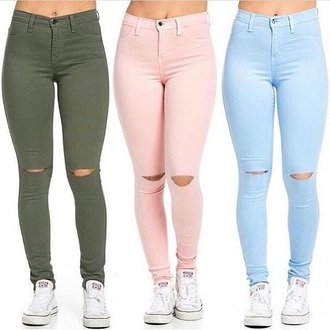 jeans cute ripped skinny