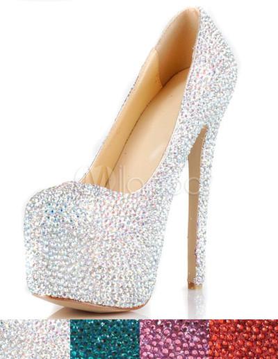 Chaussures à talons aigus argents brillants avec rhinestones - Milanoo.com