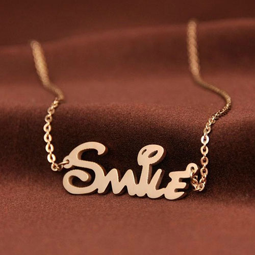 [ghyxh31002]Stainless Steel Letter Smile Pendant Chain Necklace on Luulla