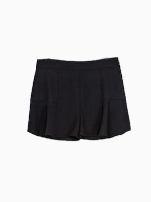 High Waisted Shorts With Wave Hem   Choies