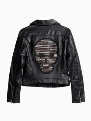 Black Leather Biker Jacket With Skull On Back   Choies