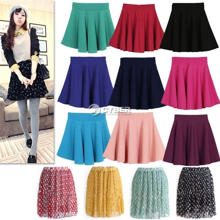 Women Candy Color Stretch Waist Plain Skater Flared Pleated Mini Skirt New DZ88 | eBay