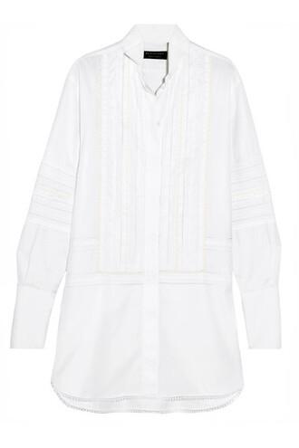 shirt lace white cotton top
