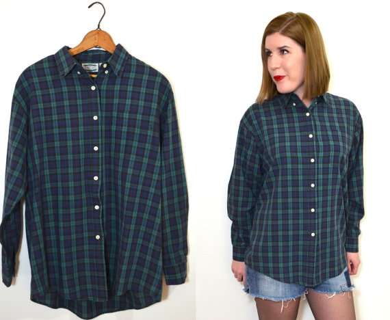 Blue and Green Plaid Shirt  Womens Button Up by TheBraidedBandit