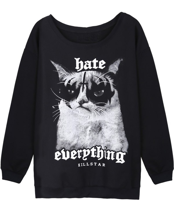 sweater sweatshirt cat eye grumpy cat