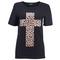 Leopard cross black t-shirt [nctd0054] - $31.99 :