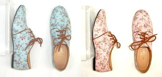 shoes hipster floral oxfords