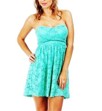 Mint Lace Strapless Summer Dress - Dress - Blue: Hot Mint Green dress by Color Mint Green