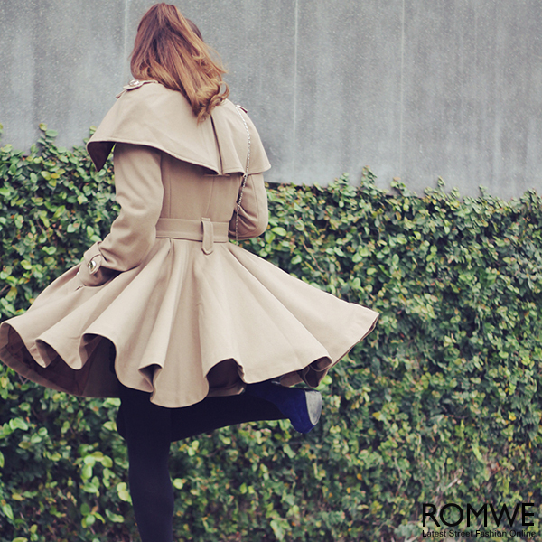 ROMWE | Cape-shawl Light Tan Coat, The Latest Street Fashion