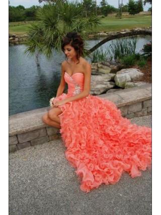 A line Sweetheart Ruffles Long Coral Prom Dress
