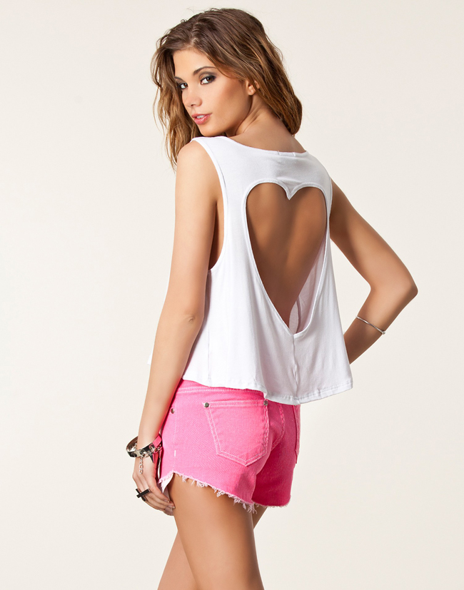plus size spring summer new 2014 fashion Sexy Heart Cutout back short crop top women's t shirts blouse cropped tops for women-inT-Shirts from Apparel & Accessories on Aliexpress.com