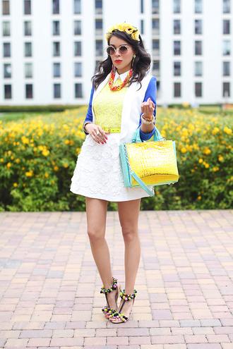 macademian girl jacket shirt skirt shoes bag sunglasses jewels belt