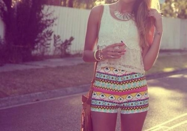 shorts high waisted tribal pattern aztec printed shorts lace top shirt pants pattern summer summer outfits colorful shirt jewelry