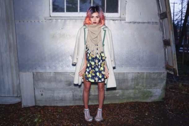 xander vintage blogger scarf socks winter coat pastel hair floral