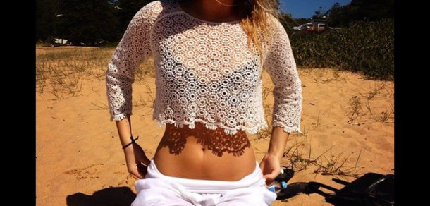 top lace white top