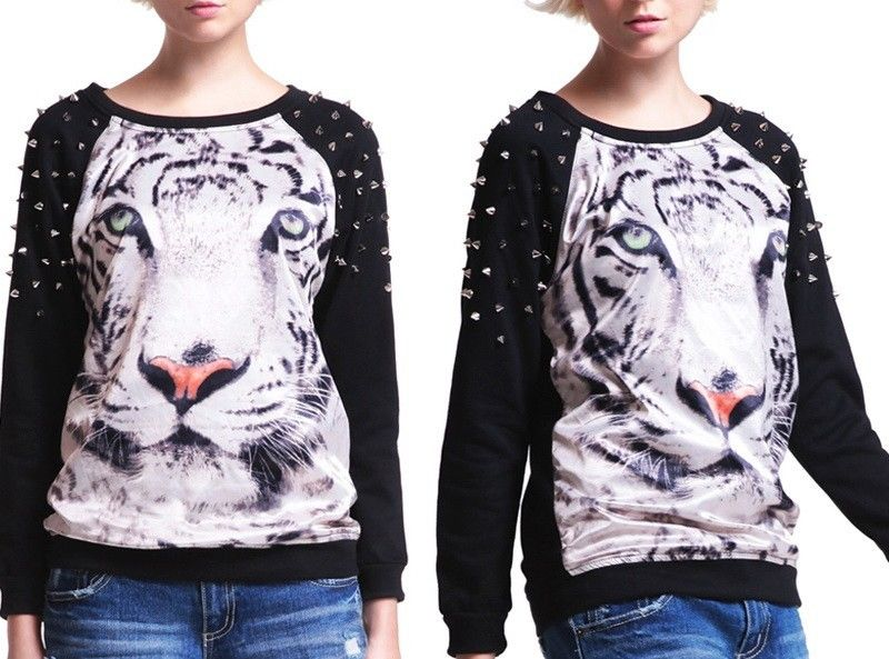 Punk Women's 3D Animal Tiger Pattern Personalized Hand Beaded Studs Sweater New | eBay