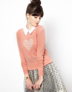 Orla Kiely   Orla Kiely Knitted Sweater in Merino Wool with Heart Motif at ASOS