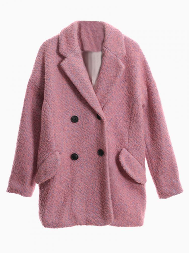 Pink Tweed Double Breast Coat | Choies