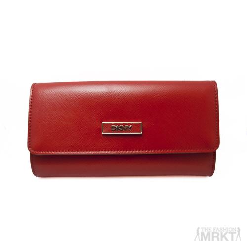 DKNY Red Shiny Saffiano Leather Wallet  / TheFashionMRKT