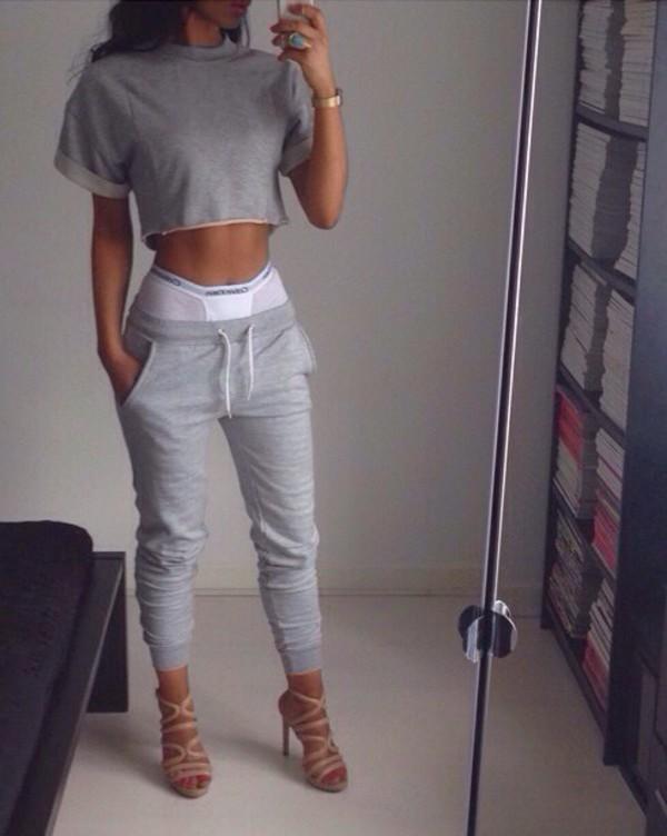 grey top joggers sweatpants nude heels shirt grey two-piece top