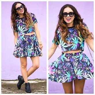 t-shirt weed shirt marijuana crop tops top shorts skirt shoes shirt