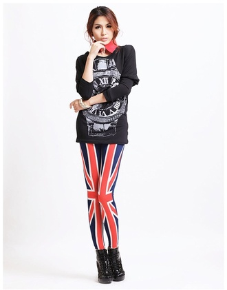 pants union jack tights red