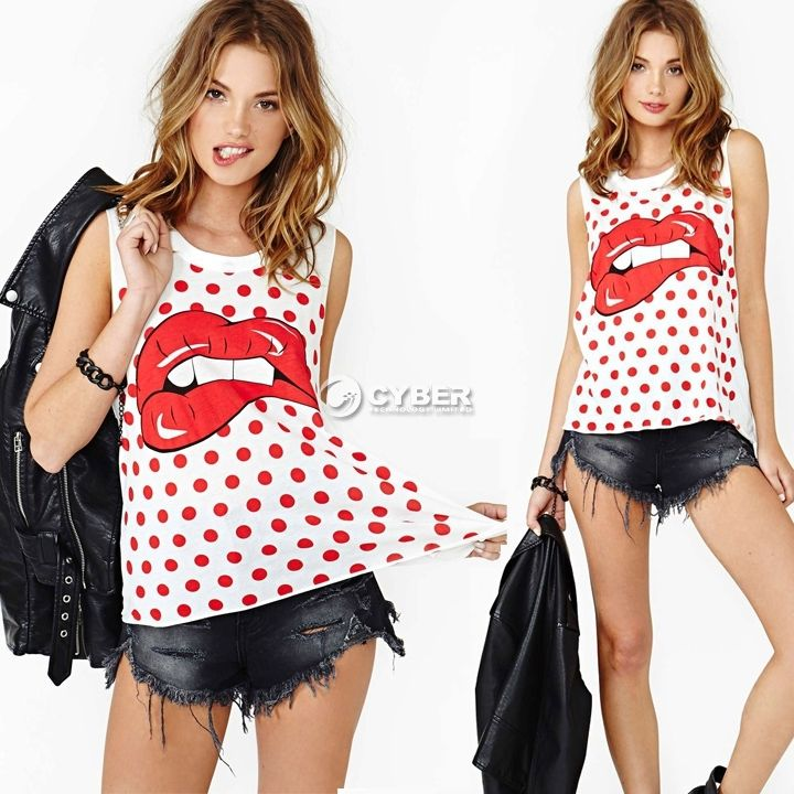 Women's Sexy Hippie Red Lip Tank Top Blouse Sleeveless Casual T Shirt Cami Vest | eBay