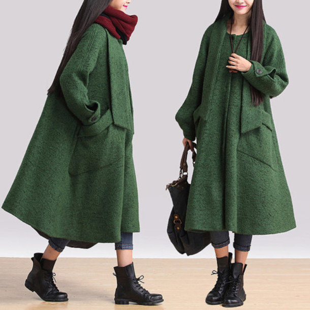coat wool jacket green jacket