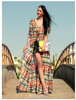 2013 New Summer Coat Colorful Print Bohemia Ethnic Women's Fashion Long Coats Ladies Retro Beach Dress Resort Wear-in Dresses from Apparel & Accessories on Aliexpress.com
