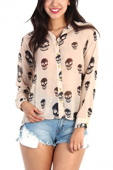 LoveMelrose.com From Harry & Molly   Skull Print Sheer Button Down Shirt - Camel