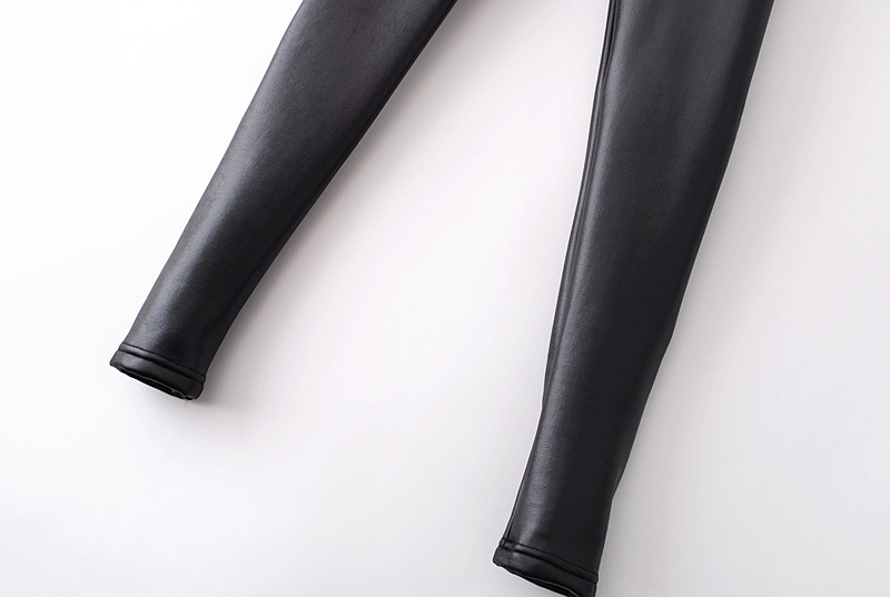 Black Skinny Elastic PU Leather Leggings - Sheinside.com