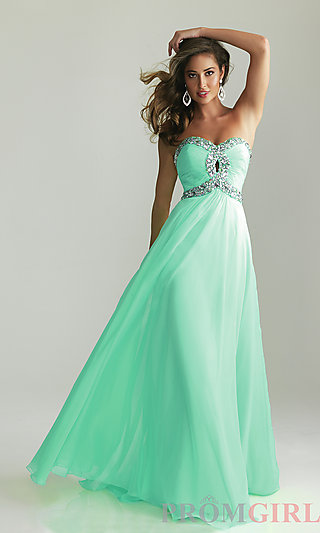 Strapless Prom Gown, Long Strapless Night Moves Dresses- PromGirl