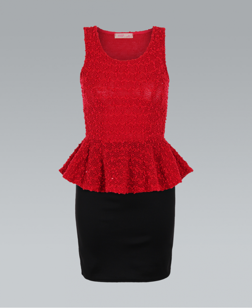 Red Cocktail Dress - Red Sequin Knit Sleeveless Peplum | UsTrendy
