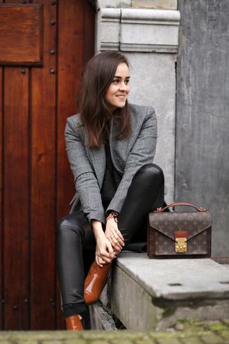 style scrapbook blogger leather leggings grey satchel bag louis vuitton brown leather boots bag pants shoes sweater coat black leather pants leather pants blazer louis vuitton bag pochette metis
