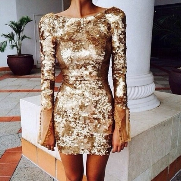 dress clothes fashion dress gold sequins tumblr cute pretty sparkle sequin dress sequins junior prom gold sequins shiny
