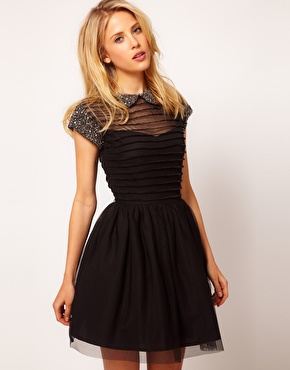 ASOS | ASOS Skater Dress with Embellished Collar at ASOS