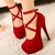 New Red Strappy Heels Pumps Sexy Wedding Club Party Platform High Stiletto Heels Shoes on Luulla