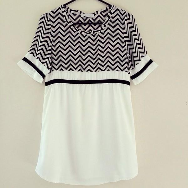 dress monochrome black and white tee dress shift dress chevron zigzag t-shirt t-shirt t-shirt dress shirt dress tunic shift chiffon