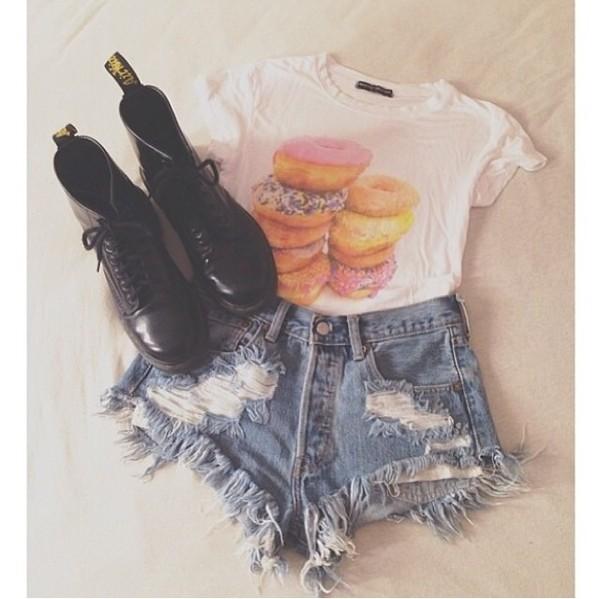 t-shirt donut white short sleeve shorts shoes